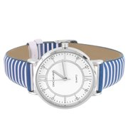 Silver Tone Analog Womens Watch Blue White Zebra Leather Band Water Resistant Ladies