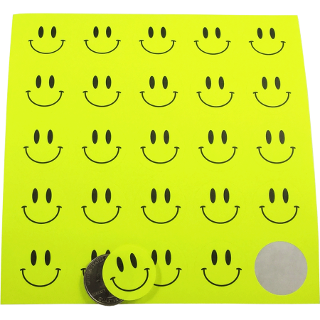 Fluorescent Yellow Smiley Face Dot Circle Stickers 1 Inch Round Labels 10 Sheets Of 25