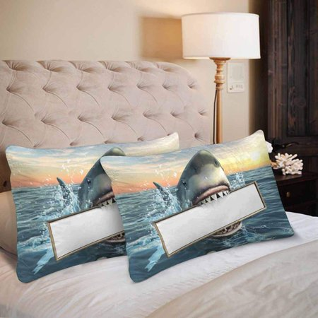 GCKG Shark Holding Billboard in Mouth Pillow Cases Pillowcase 20x30 inches Set of 2 - image 2 de 4