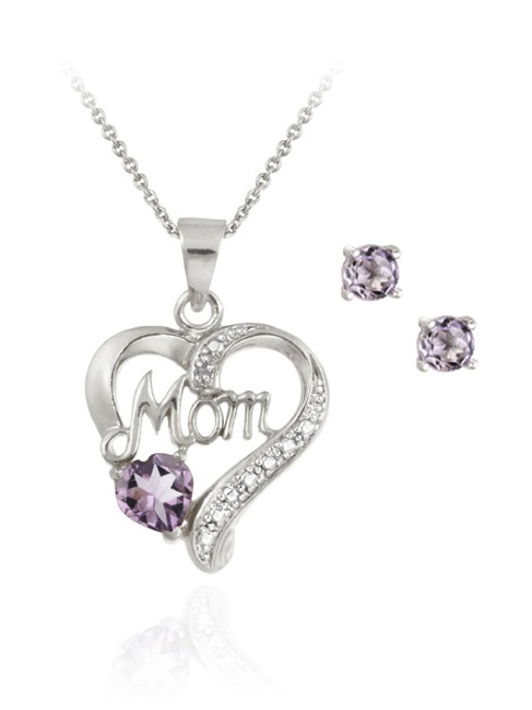 Sterling Silver Amethyst & Diamond Accent MOM Heart Pendant and Earrings Set by SilverSpeck