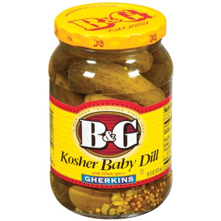 (3 Pack) B&G Gherkins Kosher Baby Dill W/Whole Spices Pickles 16 Fl oz