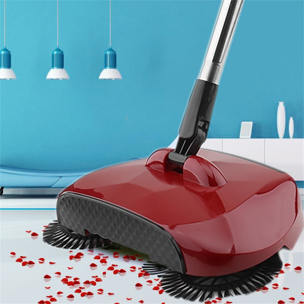 Practical Hand Push Type Sweeping Machine Household Plastic Broom Dustpan Set Vacuum Floor Cleaner Gift Hand-Propelled Sweeper, Red