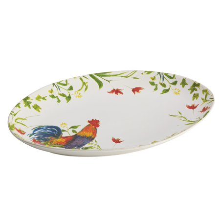 BonJour Dinnerware Meadow Rooster Stoneware 9-3/4-Inch by 14-Inch Oval Platter -