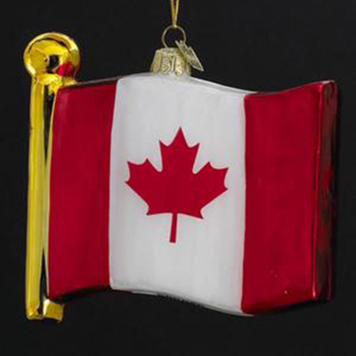 """Pack of 4 Novelty Glass Flag of Canada Hand Blown Glass Christmas Ornaments 4.5"""""""