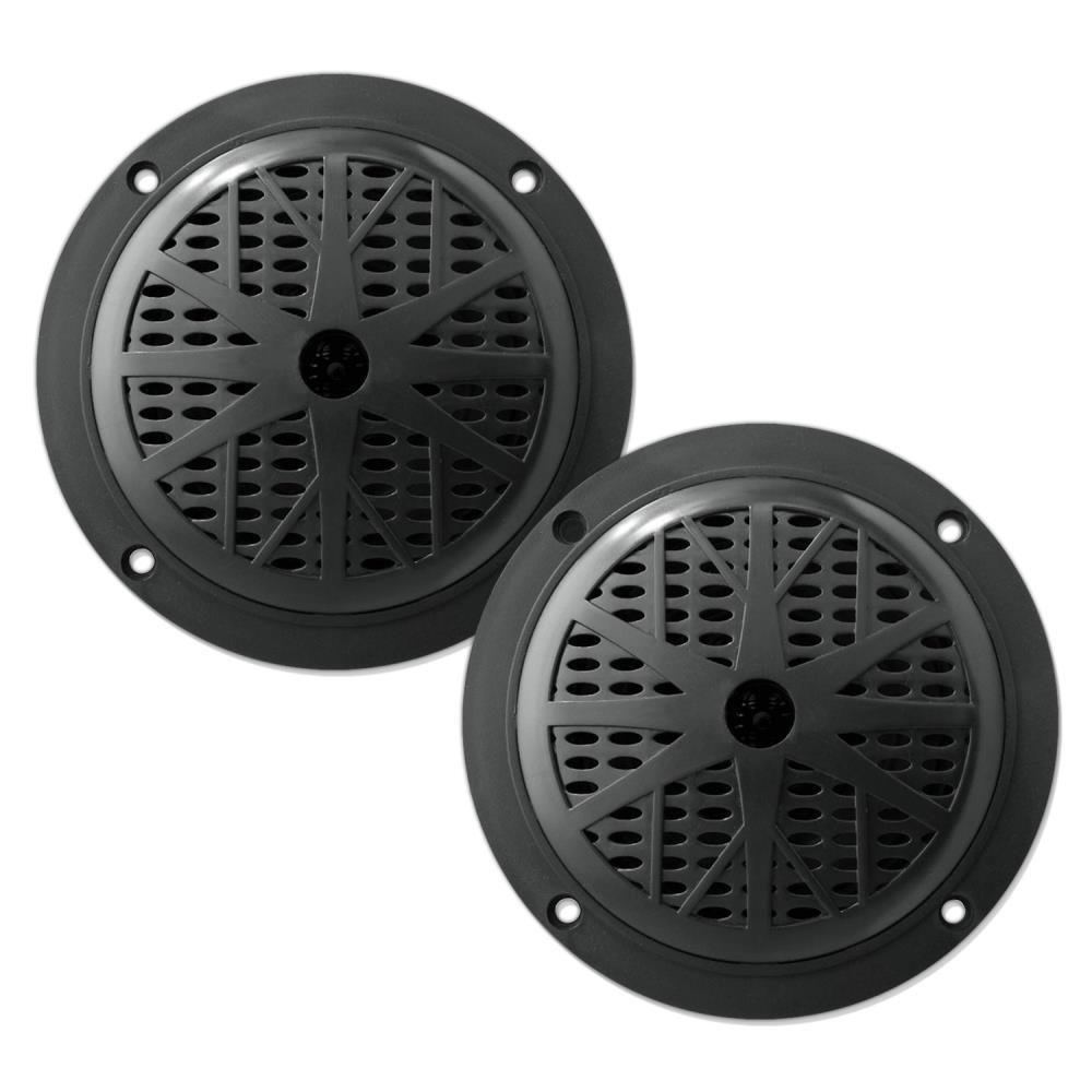 PYLE PLMR41B - 4 Inch Dual Marine Speakers - Waterproof and Weather Resistant Outdoor Audio Stereo Sound System with Polyprone Cone, Cloth Surround and Low Profile Design - 1 Pair -(Black)