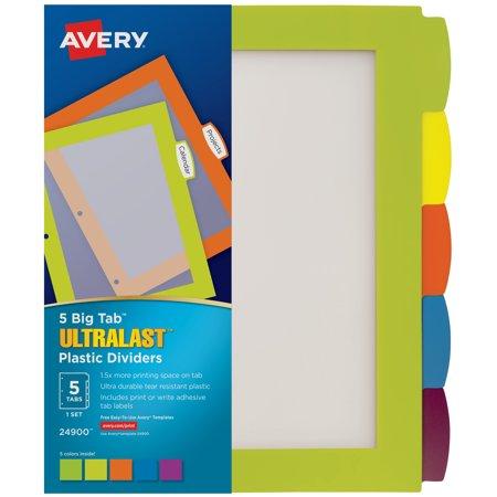 Avery Ultralast Big Tab Plastic Dividers, 5 Tabs, 1 Set, Multicolor