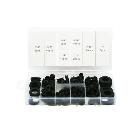 1 Assortment (ABN 180 Piece SAE Rubber Grommet Assortment 7/8 5/8 5/16 7/16 3/8 1/4 1/2 & 1 Inch)