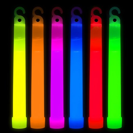 Glow Sticks 6inch Glowsticks Light Sticks, Light-up Glowstick Necklace, Retail Package for Kids Party Wedding Camping, Thick Glow Light Sticks, Multi-color, 25pc - Black Light Glow Sticks