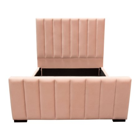 Diamond Sofa Venus Vertical Channel Tufted Eastern King Bed in Blush Pink Velvet
