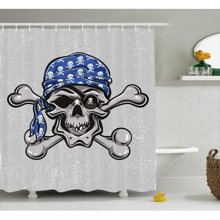 Skull Shower Curtain, Scallywag Pirate Dead Head Grunge Horror Icon Evil Sailor Crossed Bones Kerchief, Fabric Bathroom Set with Hooks, 69W X 84L Inches Extra Long, Blue Grey Black, by Ambesonne](Pirate Kerchief)