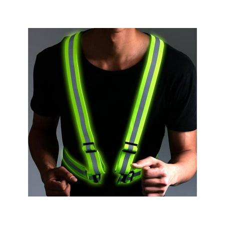 AGPtek Visible Security Reflective Vest Adjustable Lightweight Elastic Weather Proof Material Strip Reflective Vest
