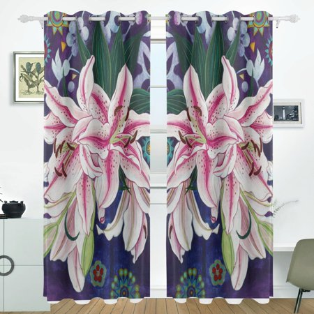 POPCreation Lily Window Curtain Blackout Curtains Darkening Thermal Blind Curtain for Bedroom Living Room,2 Panel (52Wx84L (Lily Thermal)