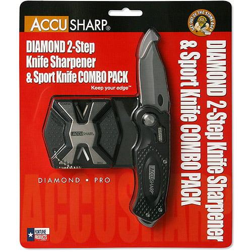 AccuSharp Diamond 2-Step Sharpener and Sport Knife Combo-Black