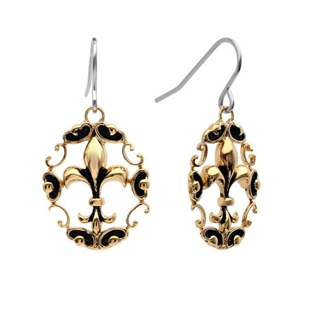 Women's Antiqued Two-Tone Fleur De Lis Dangle Hook Earrings ()