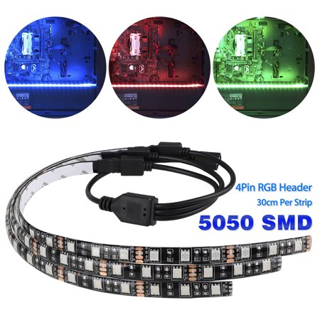 3-pack LED Strip Lights with 4pin Hub Adapter, RGB Gaming LED Strip Lights Case Lighting Gamer DIY with Aura Sync for (Best Diy Gaming Pc)