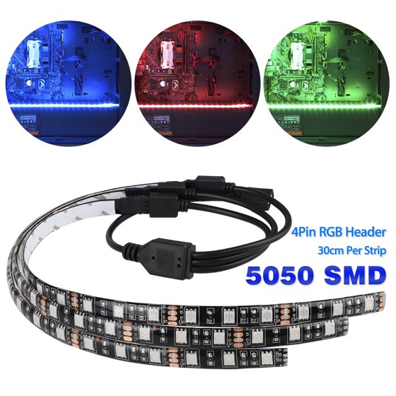 3-pack LED Strip Lights with 4pin Hub Adapter, RGB Gaming LED Strip Lights  Case Lighting Gamer DIY with Aura Sync for PC