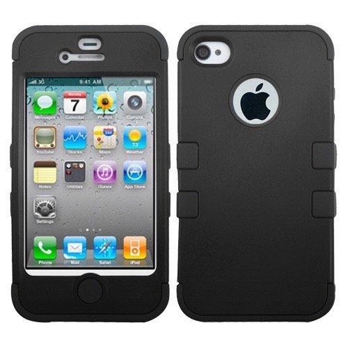 Apple iPhone 4/4S MyBat TUFF Hybrid Protector Case, Rubberized Black/Black