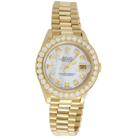 Pre-Owned Rolex 18K Gold President 26mm DateJust 69178 VS Diamond White MOP Watch 1.38 CT.