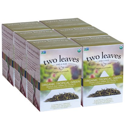 Two Leaves and a Bud, Inc., Organic Tropical Green Tea, 15 Count (Green Tea Leaves Organic)