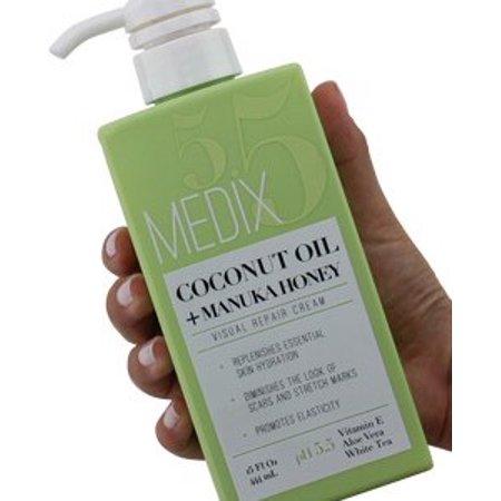 Medix 5.5 Coconut Oil Cream and Manuka Honey. Moisturizing Repair cream rehydrates skin. Great for scar and stretch