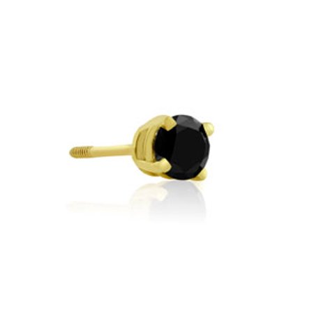 1/2ct Black Single Diamond Stud Earring in 14k Yellow Gold (Single Diamond Stud Earring)