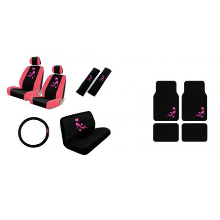 Lady High Heel Shoe w/ Triple Pink Hearts Auto Accessories Interior Car Truck SUV Combo Kit Gift Set - 15PC