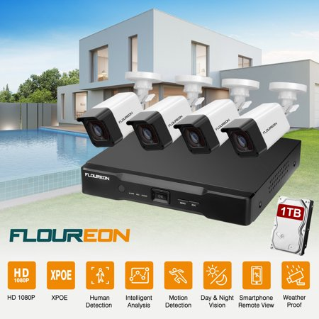 FLOUREON 8CH XPoE Home Security Camera System, 4pcs Wired 2MP Outdoor PoE IP Cameras, 2MP 8-Channel NVR Security System with 1TB HDD, Night Vision, Remote Access, Motion Detection for 24/7
