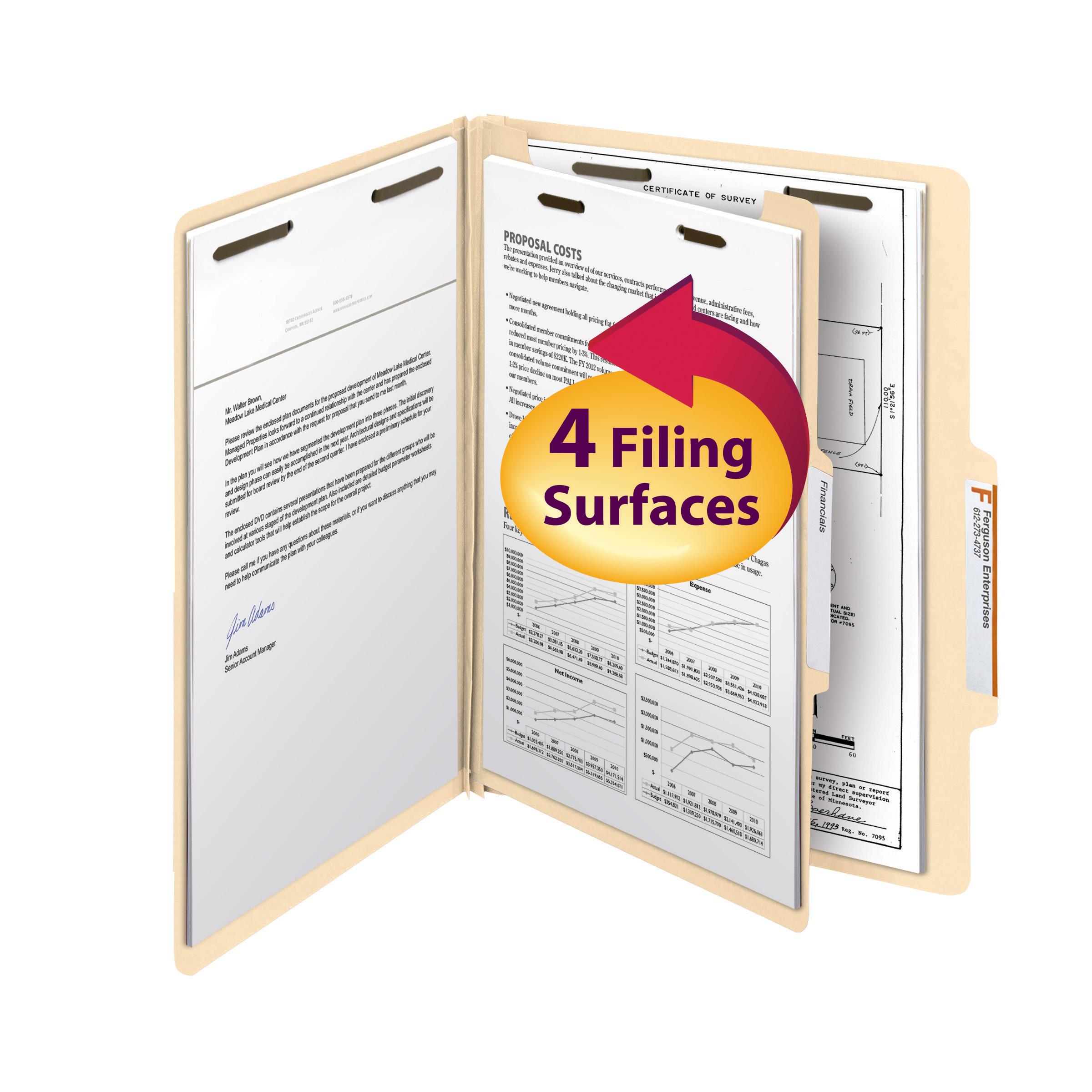 "Smead Classification File Folder, 1 Divider, 2"" Expansion, Letter Size, Manila, 10 per Box (13700)"