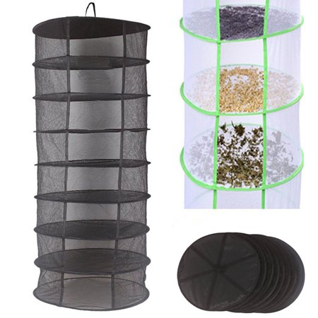 8 Layer Compartments Collapsible Herb Drying Rack Herb Dryer Net Black Mesh Tray Dry Rack for Buds & Flowers Hydroponic -