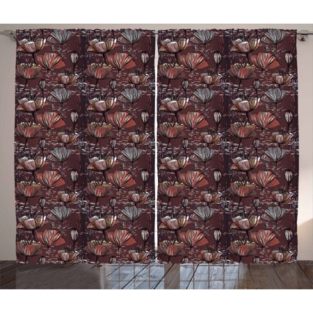 Flower Curtains 2 Panels Set, Murky Grunge Blooms Rainy Classic Floral Background Pastel Motifs, Window Drapes for Living Room Bedroom, 108W X 90L Inches, Mauve Taupe Dried Rose Coral, by Ambesonne Orange Floral Background