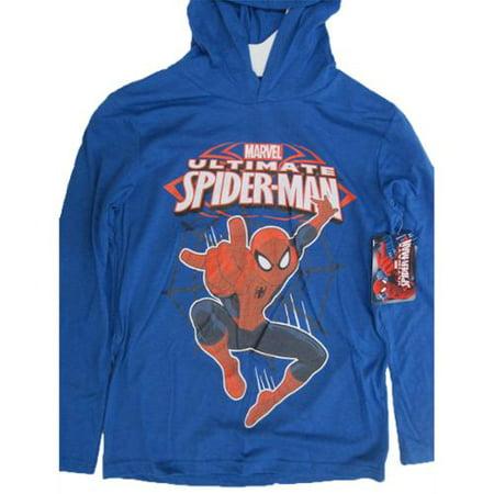Marvel Boys Royal Blue Spiderman Print Hooded Shirt - Spider Man Hoodie