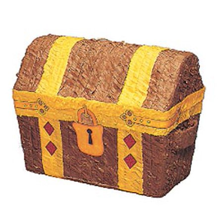 Loot Treasure Chest Pinata, Brown & Gold, 12in x 12in