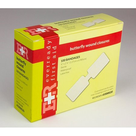 """Ever Ready First Aid Large Butterfly Wound Closure Strips 1/2"""" x 2 3/4"""" Sterile- 100/Box"""