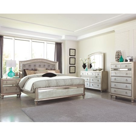 4pc Bedroom Furniture Glamorous Set Classic Metallic Finish Tufted HB Queen Size Bed w Dresser Mirror Nightstand ()