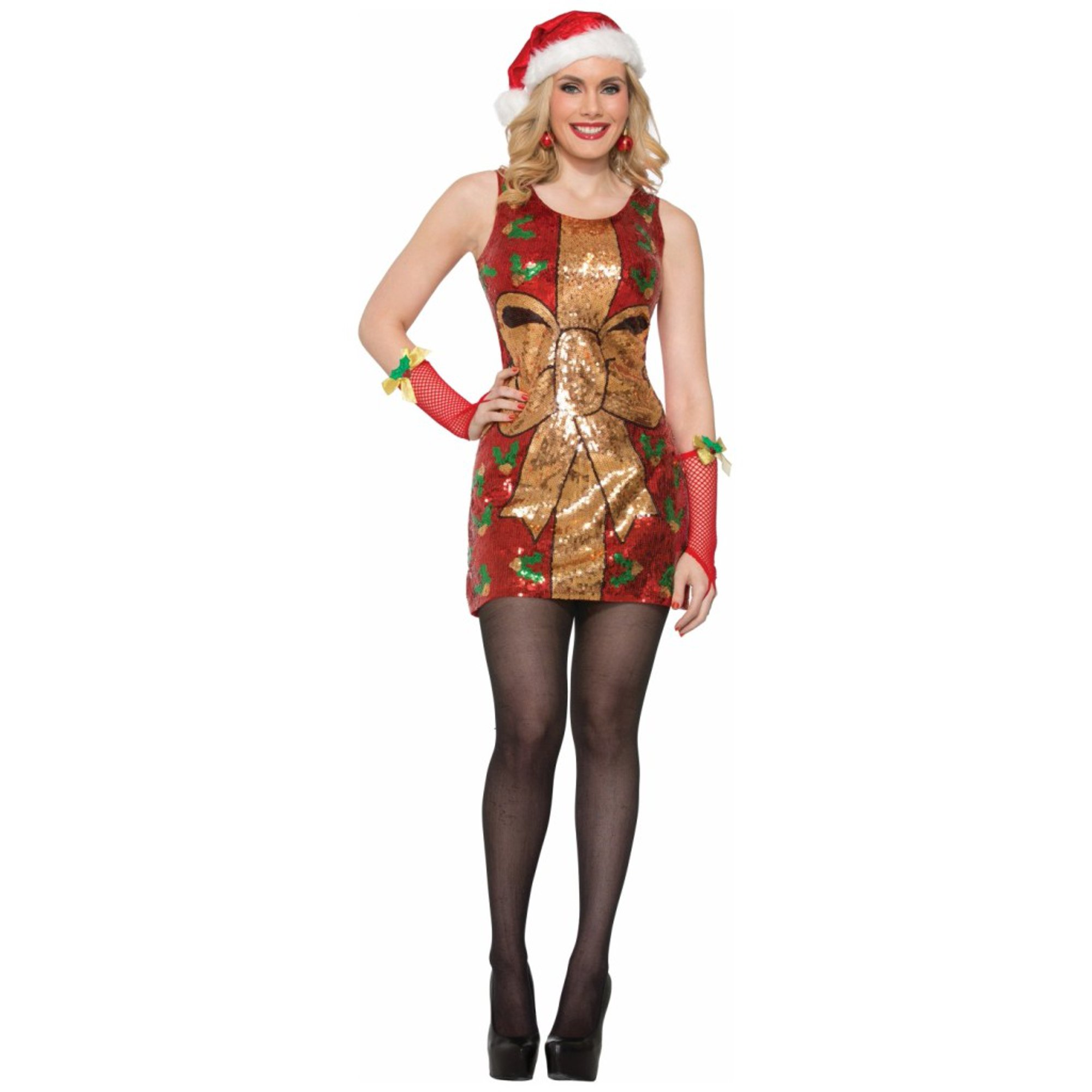 03b75d40a27bf Sexy Sparkly Present Sequin Christmas Dress Adult Women's Costume XS/SM -  M/L