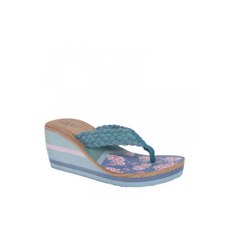 Floral Print Wedge - Blue Women Casual Comfort Floral Design Wedge
