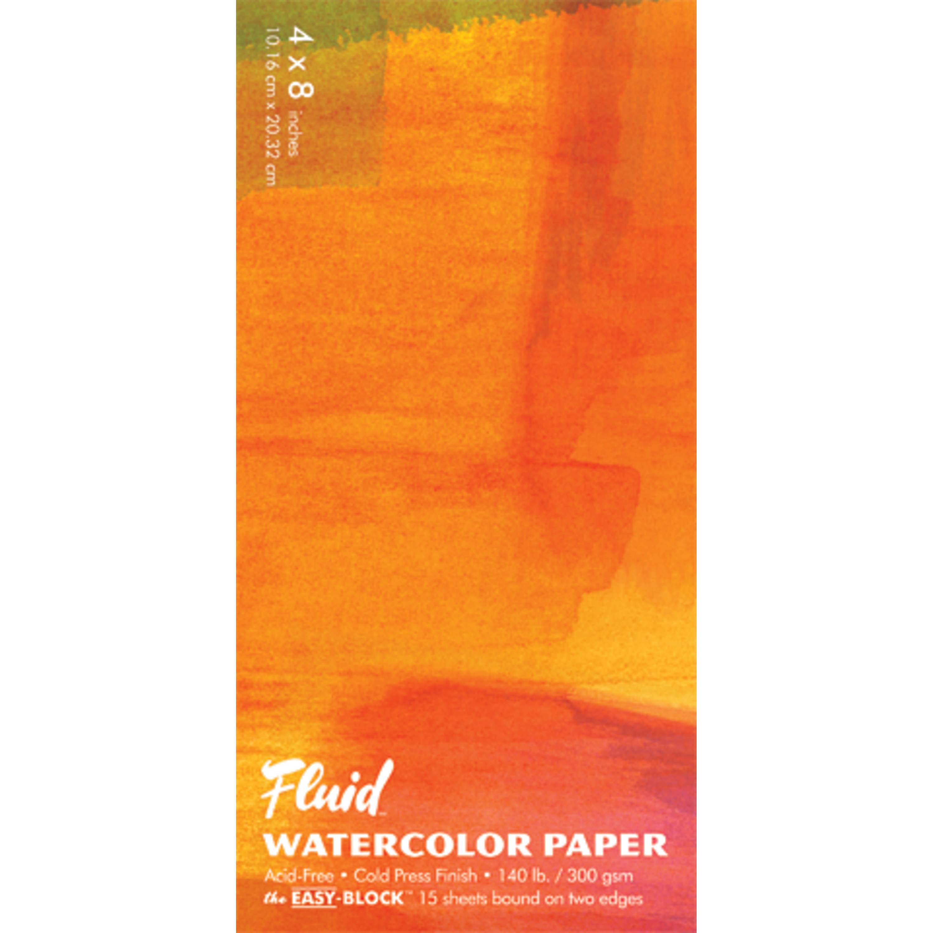 Global Art Fluid Watercolor Paper Block, Cold-Press, 4in x 8in 15 Sheets/Pad