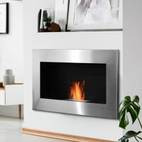 """35.5"""" Contemporary Wall Mounted Ventless Indoor Bio Ethanol Fireplace - Stainless Steel"""