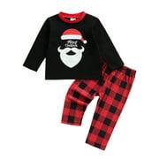 Puloru Children's Santa Claus Printed T-shirt and Plaid Long Pants Set