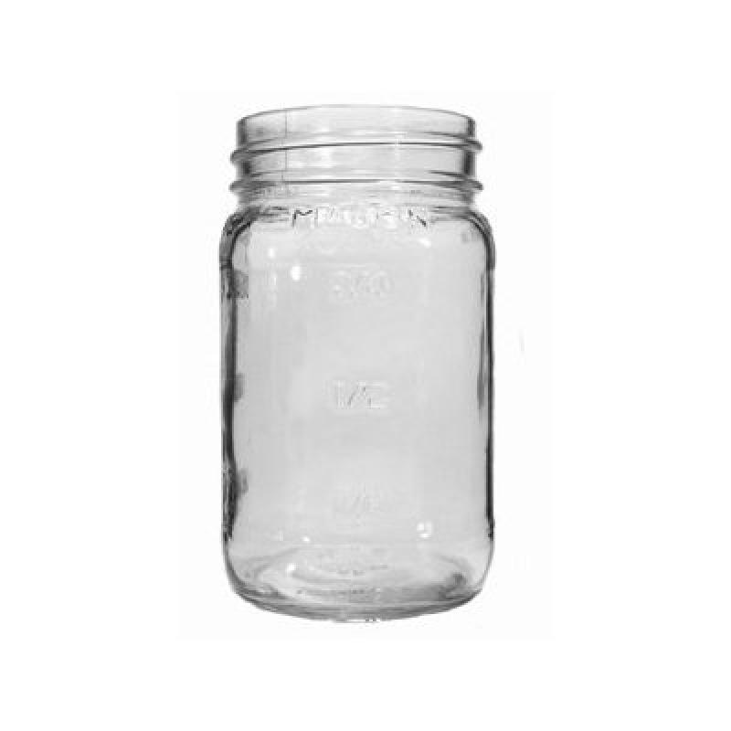 16 oz. Embossed Square Mason Jar (CS of 12) by
