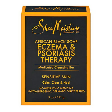 Shea Moisture Eczema And Psoriasis Therapy African Black Medicated Cleansing Bar Soap, 5