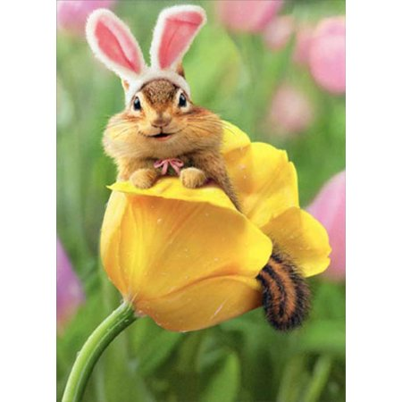 Avanti Press Chipmunk Bunny In Tulip Easter Card