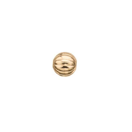 10pcs 8mm Round Corrugated 18K Gold-Finished Brass - Corrugated Round Beads