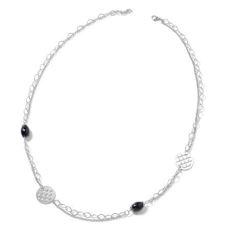 Stainless Steel Black Agate Necklace for Women Jewelry Gift 36