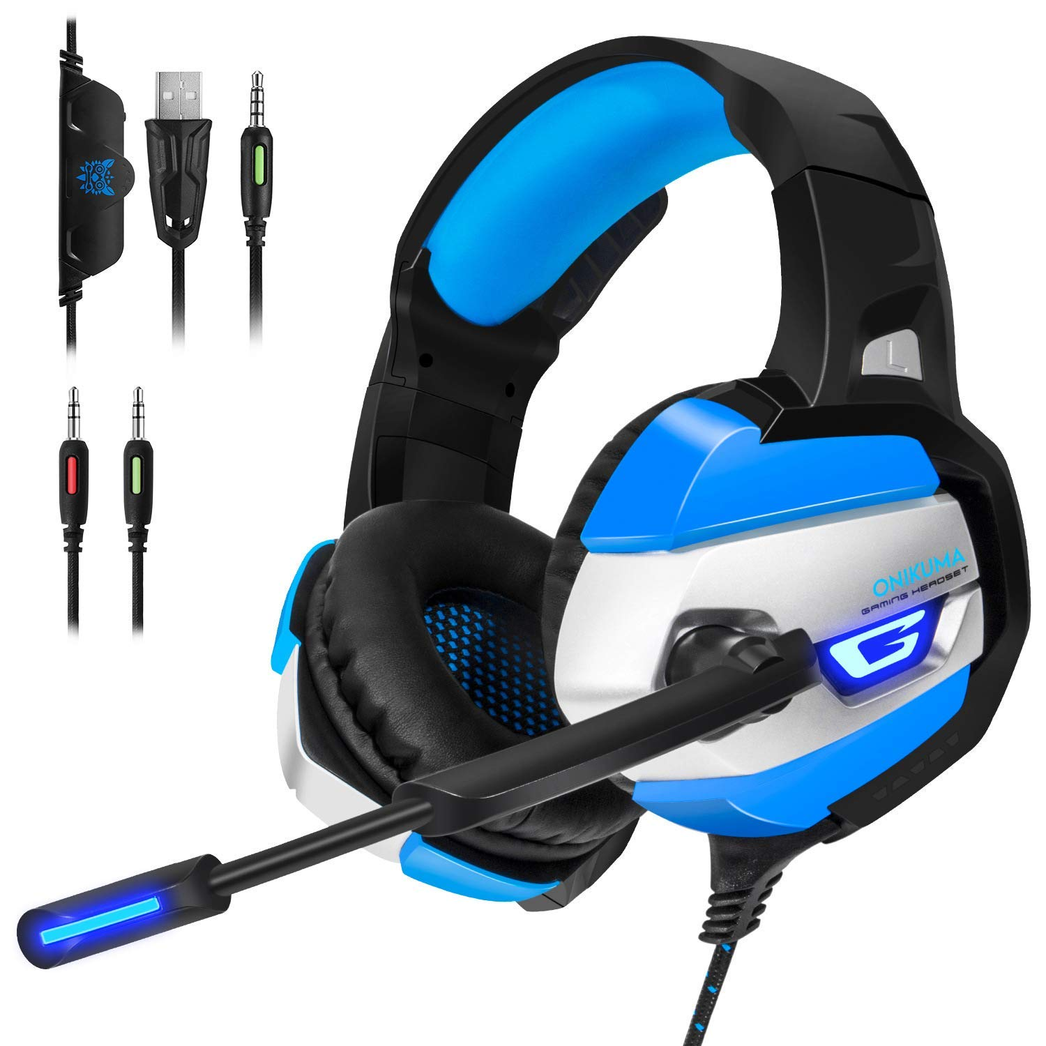 PC Gaming Headset for PS4 Xbox One, K5 Over Ear Gaming Headphones with Mic, Stereo Bass Surround, Noise Reduction, LED Lights and Volume Control for Mac and Nintendo Switch Games