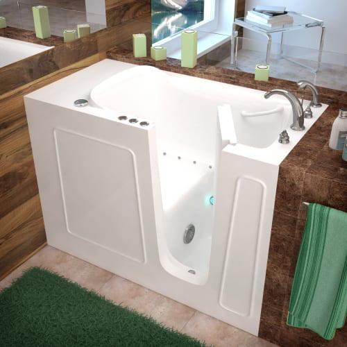 "Avano AV2653RA Walk-In Tubs 52.75"" Gel Coated Air Bathtub for Alcove Installations w/ Right Drain, Roman Tub Faucet & Handshower"