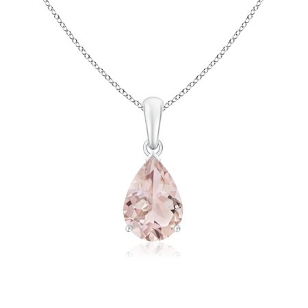 10x7mm Pear Pendant (Pear Shaped Morganite Solitaire Pendant Necklace in 950 Platinum (10x7mm Morganite) -)