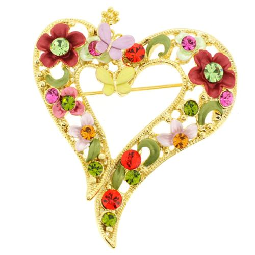 Fantasyard Goldtone Multi-colored Crystal Butterfly and Flower Heart Brooch