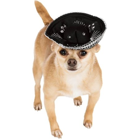 Sombrero Black Silver Hat Headpiece Pet Dog Halloween Costume Accessory