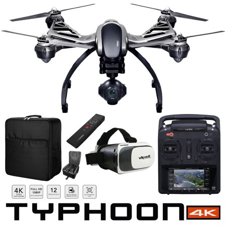 Yuneec Typhoon 4K Q500 RTF Hexacopter Drone Sky Command Bundle with CGO3 4K UHD Camera ST10+ Controller Wizard Wand SkyView FPV Display Headset and Custom